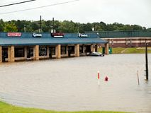 Dominos Pizza Livingston Texas Flooding Hurricane Harvey. Flooding at US Hwy 190 in Livingston, Texas during hurricane harvey Stock Images