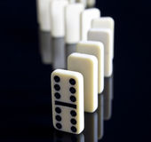 Dominos stood up. With double six leading the way royalty free stock images