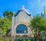 The Dominus Flevit Church. The modern Dominus Flevit Church located on the slope of the Mount of Olives and boasts the wonderful garden, Jerusalem, Israel Royalty Free Stock Photo