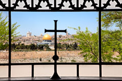 Dominus Flevit kyrka i Jerusalem Arkivfoto