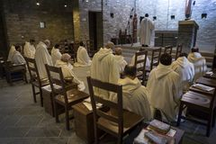 Dominus Tecum Monastery - Pra`d mill. Near Turin a Cistercense`s seclusion monastery open his spirituality to the pillgrims - the Mass Stock Photos