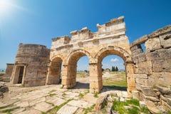 Domitian gate in Hierapolis near Pamukkale in Turkey Stock Photos