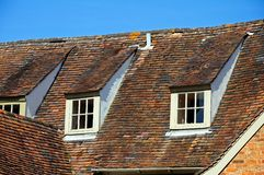 Domitory windows in roof. Royalty Free Stock Photo