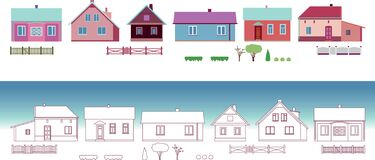 Small cottages. Simple geometric vector elements for your design