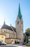 Domkirche St. Nikolaus in Feldkirch. FELDKIRCH,AUSTRIA - AUGUST 28,2014 - Domkirche St. Nikolaus in Feldkirch.Feldkirch is a medieval city in the western Royalty Free Stock Images