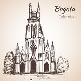 Domkyrka av Bogota skissa vektor illustrationer