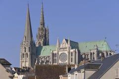 Domkyrka av Chartres i Frankrike Arkivbild