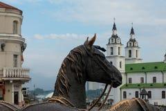 Domkyrka av den heliga anden i Minsk - kyrka av Vitryssland och symbolet arkivbild