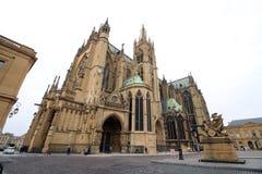 Domkyrka av den Metz staden, Frankrike Fotografering för Bildbyråer