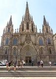 Domkyrka av det heliga korset och den Sanktt Eulaliaen Royaltyfria Foton