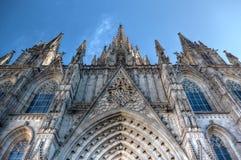 Domkyrka av det heliga korset och helgonet Eulalia, Barcelona, Spanien Arkivbild