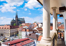 Domkyrka av helgon Peter och Paul, Petrov, stad Brno, Moravia, Arkivbild