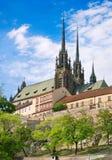 Domkyrka av helgon Peter och Paul, Petrov, stad Brno, Moravia, Arkivfoton