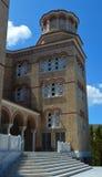 Domkyrka av helgonet Nectarios i den Aegina ön, Grekland på Juni 19, 2017 Royaltyfria Bilder