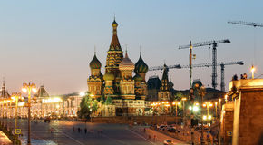 Domkyrka av intervention av mest heliga Theotokos på vallgraven (tempel av basilika det välsignat), röd fyrkant, Moskva, Ryssland Arkivbild