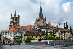 Domkyrka av Notre Dame av Lausanne Arkivbild