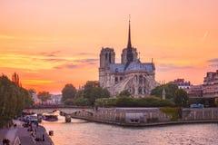 Domkyrka av Notre Dame de Paris p? solnedg?ngen, Frankrike royaltyfri bild
