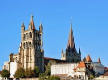 Domkyrka av Notre Dame Lausanne Arkivbild