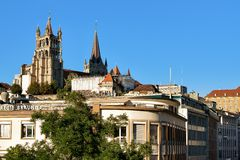 Domkyrka av Notre Dame Lausanne Switzerland Royaltyfri Bild