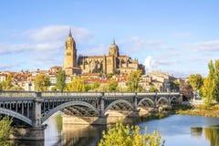 Domkyrka av Salamanca och bron över den Tormes floden, Spanien royaltyfri bild