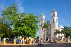 Domkyrka av San Ildefonso Merida huvudstad av Yucatan Mexico Arkivbilder