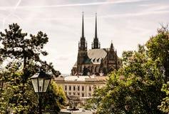 Domkyrka av St Peter och Paul i Brno, tjeck, gammalt filter Fotografering för Bildbyråer