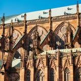 Domkyrka av vår dam av Strasbourg detaljer Arkivbilder