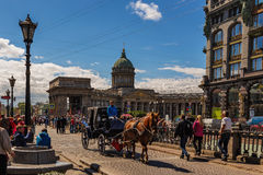 Domkyrka av vår dam Kazan, St Petersburg, Ryssland Royaltyfria Bilder