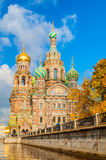 Domkyrka av vår frälsare på Spilled den blod- och Griboedov kanalen i St Petersburg, Ryssland Arkivfoton