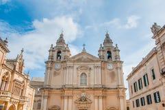 Domkyrka för Saint Paul ` s i Mdina, Malta arkivfoton