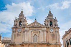 Domkyrka för Saint Paul ` s i Mdina, Malta fotografering för bildbyråer