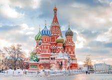 Domkyrka för St-basilika` s i Moskva, Ryssland fotografering för bildbyråer