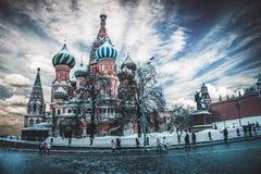 Domkyrka för St-basilika` s, Moskva, Ryssland arkivbilder