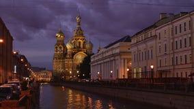 Domkyrka för St Petersburg Tid schackningsperiodfotografi på det spillda blodet stock video