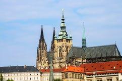 Domkyrka för St Vitus i Prague Arkivbilder