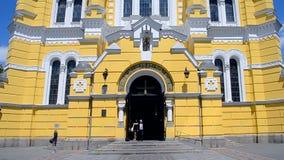 Domkyrka för St Vladimir Cathedral aka Volodymyrsky i Kiev, Ukraina arkivfilmer