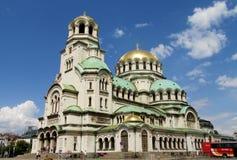 Domkyrkaför TheSt AlexanderNevskyav den bulgariska ortodoxa kyrkan i Sofia Fotografering för Bildbyråer