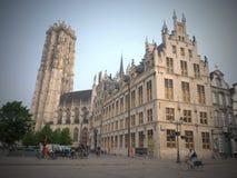 Domkyrka f?r St Rumbolds - Mechelen- Belgien royaltyfria foton