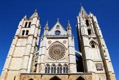 domkyrka främre gotiska le n västra spain Royaltyfri Foto