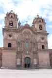 Domkyrka i plazaen de Armas Cuzco Peru Arkivbild