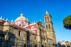 Domkyrka i Puebla, Mexico Arkivbild