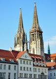 Domkyrka i Regensburg, Tyskland Arkivbilder