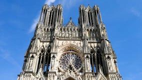 Domkyrka i staden av Reims, Frankrike lager videofilmer