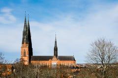 Domkyrka i Uppsala, Sverige, Europa som byggs i det 13th århundradet Royaltyfri Foto