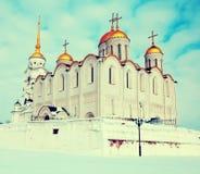 1158 1160 domkyrka konstruerade russia uspenskiy vladimirvinter Royaltyfri Foto