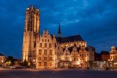 Domkyrka Mechelen för St Rumbolds arkivbild