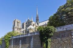 Domkyrka Notre Dame de Paris från floden Seine Royaltyfria Bilder