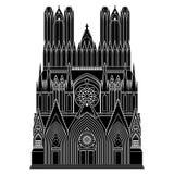 Domkyrka Notre - Dame de Reims Frankrike turist- dragningar, Cathédrale Notre Dame de Reims stock illustrationer