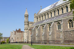 Domkyrka och Abbey Church av helgonet Alban i St Albans, UK Royaltyfria Bilder