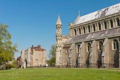 Domkyrka och Abbey Church av helgonet Alban i StAlbans England u Arkivfoto